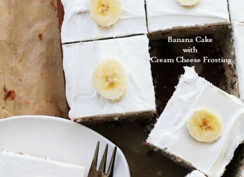 Banana Cake with Cream Cheese Frosting | www.diethood.com | Decadent, easy to make Banana Cake topped with a smooth Cream Cheese Frosting.