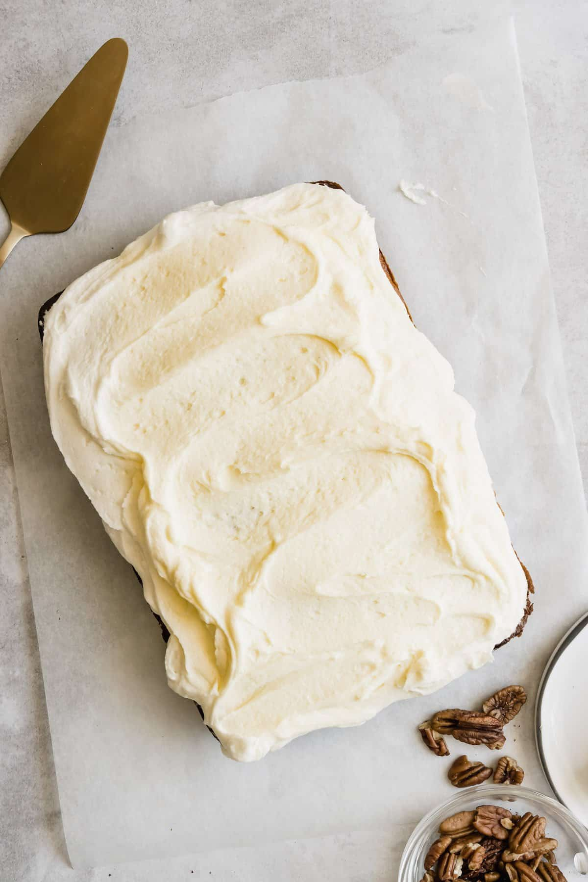 A whole frosted banana cake.