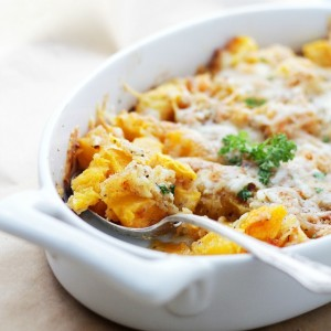 Cheesy Baked Butternut Squash | www.diethood.com | Chunks of butternut squash tossed with parmesan cheese and white cheddar, together with a sprinkle of a delicious and garlicky crumb mixture.
