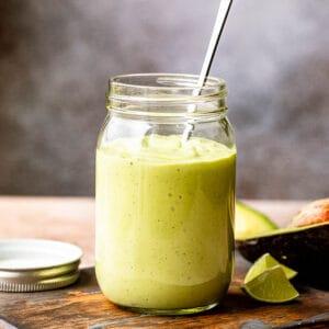 jar with avocado yogurt dressing