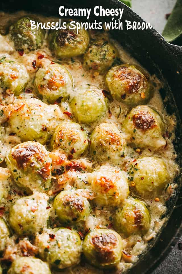 brussels sprouts with bacon, cheese, thanksgiving recipes, side dish