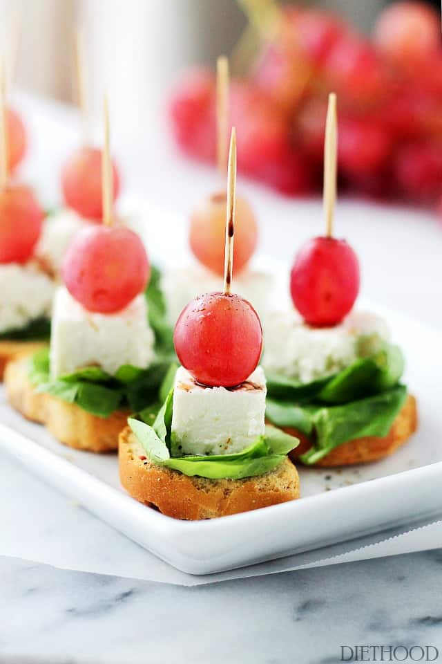 Grapes and Feta Cheese Caprese Macedonian Style Grape Caprese Salad