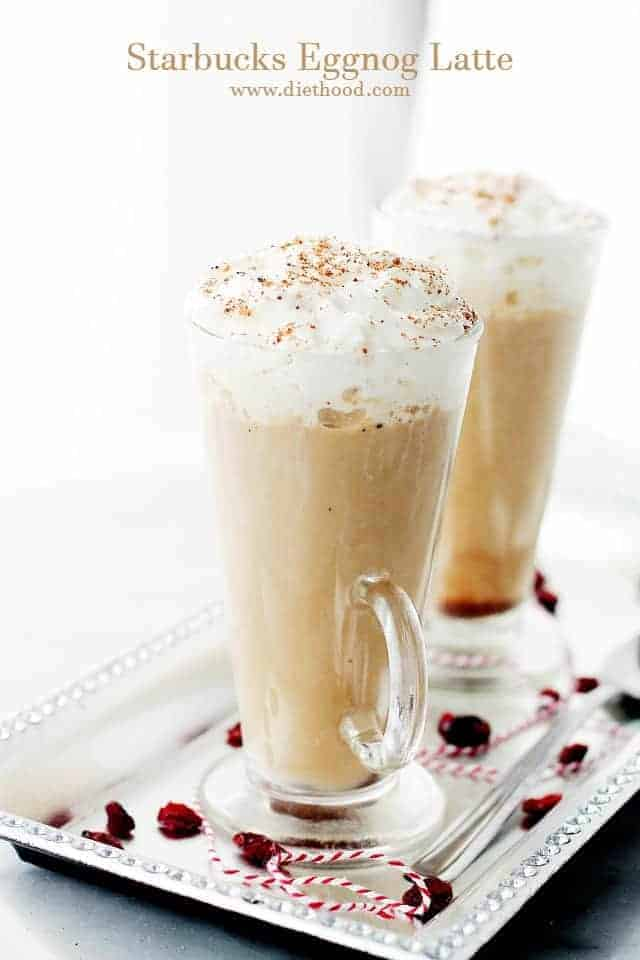 A perfect Christmas morning coffee drink! This festive, Starbucks-inspired latte is made with strong brewed espresso, steamed eggnog and milk. It's so GOOD! #christmasmorning #christmasdrinks #eggnogrecipe #coffeerecipe #starbuckscopycat