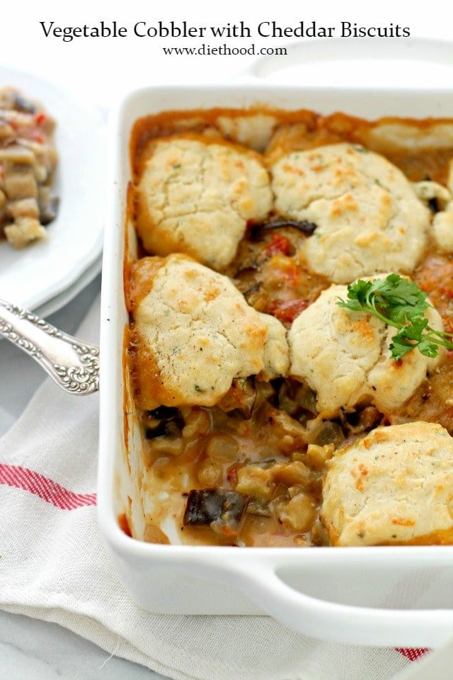 Vegetable Cobbler with Cheddar Biscuits | www.diethood.com | Chunks of delicious vegetables topped with soft and cheesy cheddar biscuits.