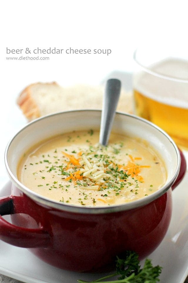 Beer Cheddar Cheese Soup in a small soup pot