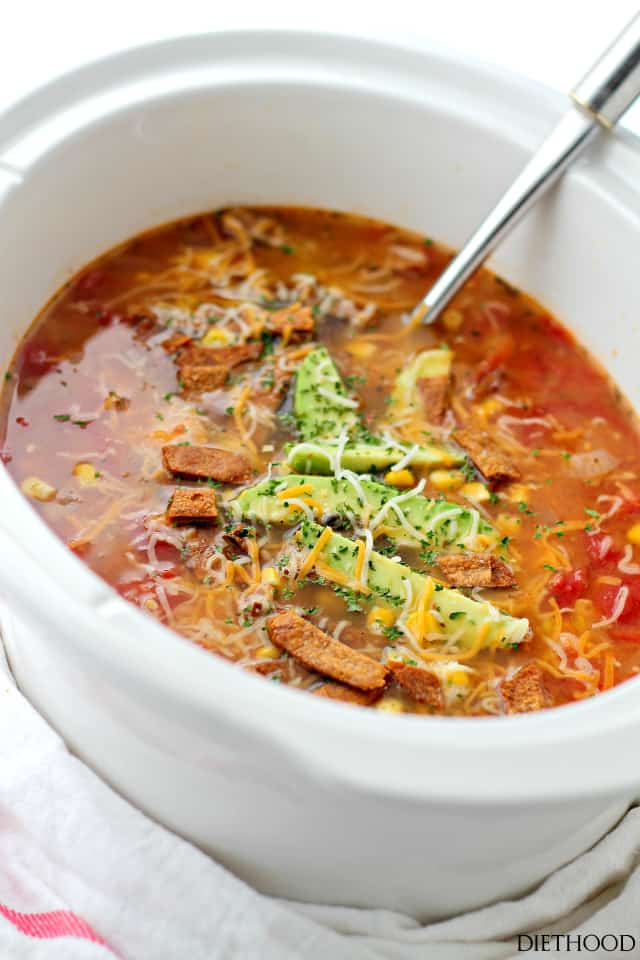 Light Creamy Chicken Tortilla Soup | www.diethood.com | This hearty Chicken Tortilla Soup is filled with shredded chicken, tomatoes, corn and creamy refried beans. All the creamy comfort without the cream!