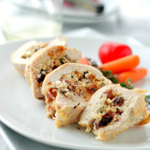 Goat Cheese, Bacon and Raisins Stuffed Chicken Breasts