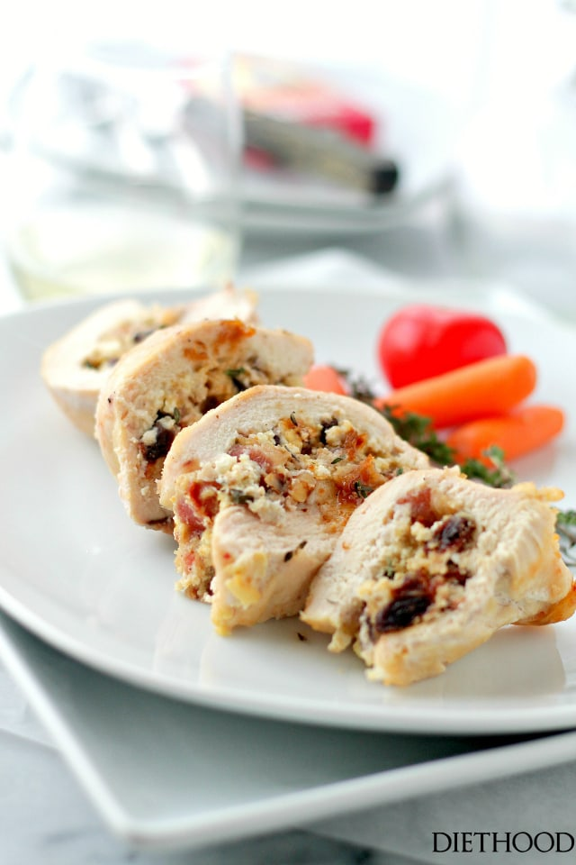 Goat Cheese, Bacon and Raisins Stuffed Chicken Breasts | www.diethood.com | Elegant, yet super easy recipe for chicken breasts stuffed with a delicious mixture of goat cheese, bacon, raisins and nuts.