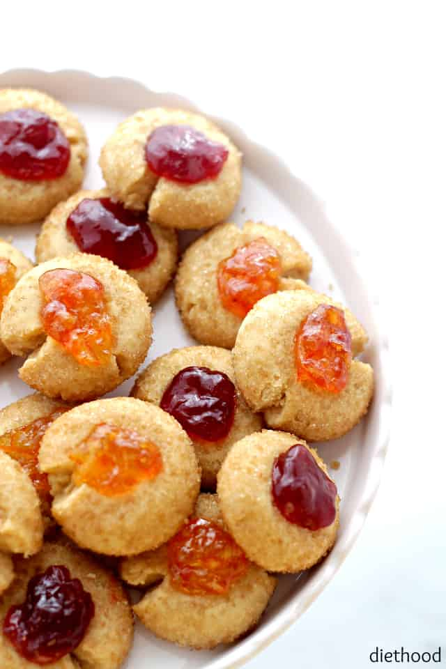 Raw-Sugar Thumbprint Cookies | www.diethood.com | These beautiful and festive Cookies are made with just 3 ingredients including raw-sugar, butter and flour. Jelly, too! That's a bonus!