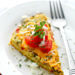Slow Cooker Veggie Omelette | www.diethood.com | A delicious and simple breakfast Veggie Omelette cooked in the crock pot.