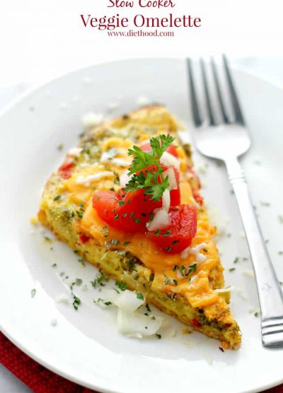 Slow Cooker Veggie Omelette   www.diethood.com   A delicious and simple breakfast Veggie Omelette cooked in the crock pot.