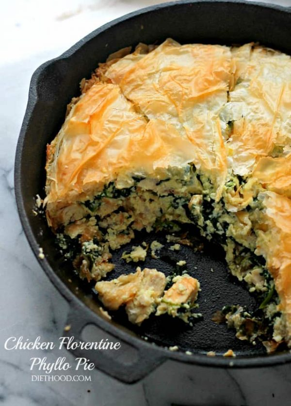 Chicken Florentine Phyllo Pie | www.diethood.com | A creamy, cheesy and delicious mixture of chicken and spinach nestled between crispy and flaky phyllo sheets.