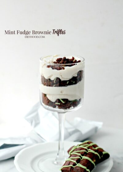 Mint Fudge Brownies Trifle | www.diethood.com | Lightened-up dessert with layers upon sweet layers of Mint Fudge Brownies and a deliciously creamy Yogurt & Cream Cheese filling.