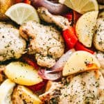 One-Pot Lemon Chicken and Potatoes - This super easy, amazingly flavored dish with lemon chicken, veggies, and potatoes is a complete meal made all in one pot and in just 30-minutes!