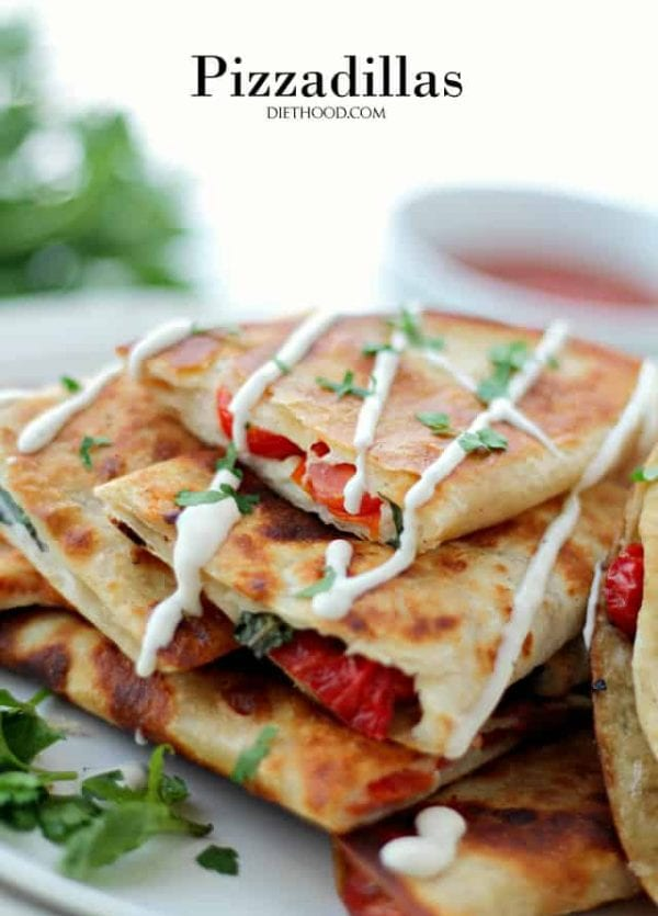 Pizzadillas | www.diethood.com | All the gooey and cheesy pizza toppings inside of warm flour tortillas. Perfect Super Bowl Party-Food!