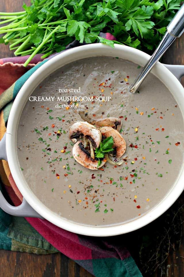 Roasted Creamy Mushroom Soup Recipe | Easy Mushroom Recipe