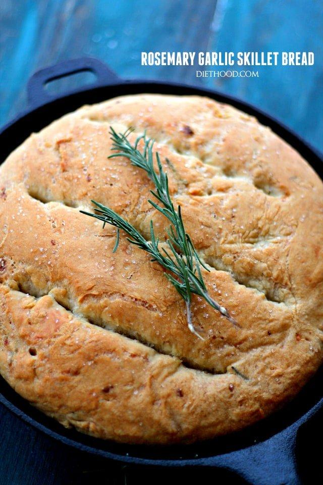 Rosemary and Garlic No-Knead Skillet Bread | www.diethood.com | Warm, homemade and incredibly flavorful no-knead bread that is so easy to prepare, you'll want to make it again and again!