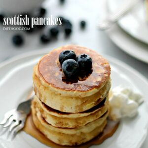 Scottish Pancakes | www.diethood.com | Sweet, fluffy, delicious pancakes served with honey and berries.