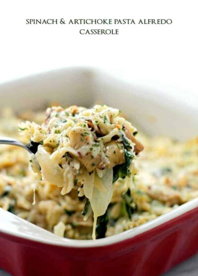 Spinach and Artichoke Pasta Alfredo Casserole | www.diethood.com | Delicious vegetarian dinner with Spinach, Artichokes and Orzo pasta mixed in a lightened-up, homemade Alfredo Sauce.