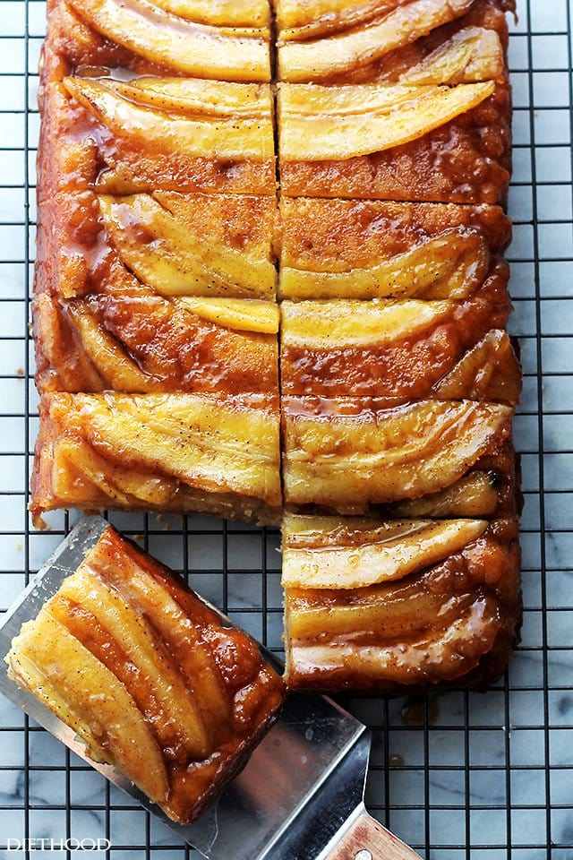 Bananas Foster Upside Down Cake | www.diethood.com | The classic and ...