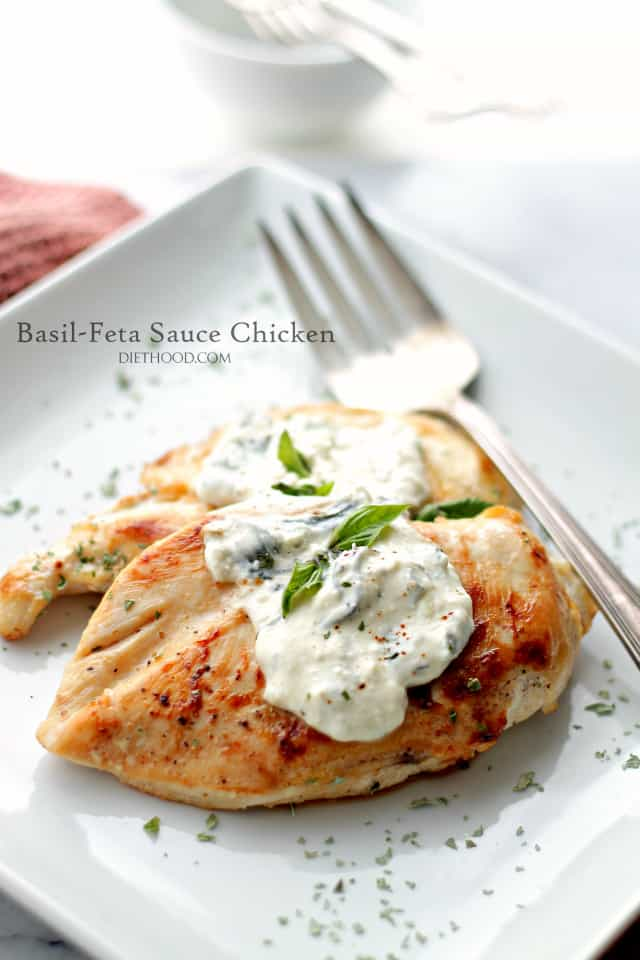 Basil-Feta Sauce Chicken on a plate