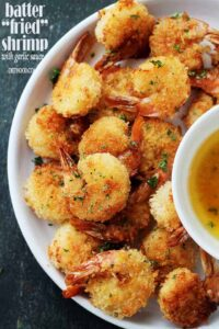 """Baked Batter """"Fried"""" Shrimp with Garlic Dipping Sauce Recipe 