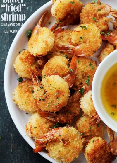 "Batter ""Fried"" Shrimp with Garlic Dipping Sauce 