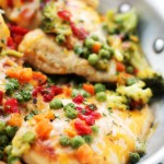 Cheesy Chicken and Vegetables Skillet | www.diethood.com | Loaded with veggies, cheese and tender, juicy chicken, this 30-minute, one-skillet dinner is fast, easy and most of all, delicious! The whole family loves it!