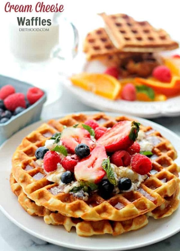 Cream Cheese Waffles with Honey Whipped Cream | www.diethood.com | Deliciously sweet and fluffy waffles served with honey whipped cream and fresh berries.
