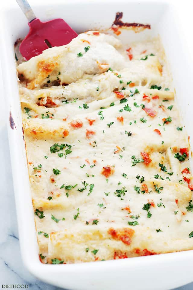 Mediterranean White Chicken Enchiladas | www.diethood.com | Made with shredded chicken, Italian cheeses, bell peppers and yogurt sauce, Chicken Enchiladas never tasted so good!!