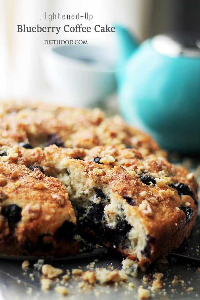 Lightened-Up Blueberry Coffee Cake | www.diethood.com | Soft, light and airy, this coffee cake is loaded with fresh blueberries and topped with sweet, crunchy walnuts. Low calorie, but it sure doesn't taste like it! It's absolutely delicious!