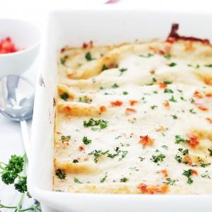 Mediterranean White Chicken Enchiladas