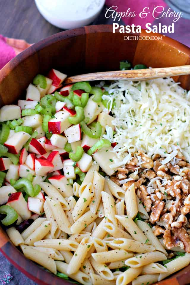 Apples and Celery Pasta Salad with Light Caesar Dressing | www.diethood.com | Penne Pasta tossed with Gala apples, celery, walnuts and a lightened-up, homemade Caesar Dressing.