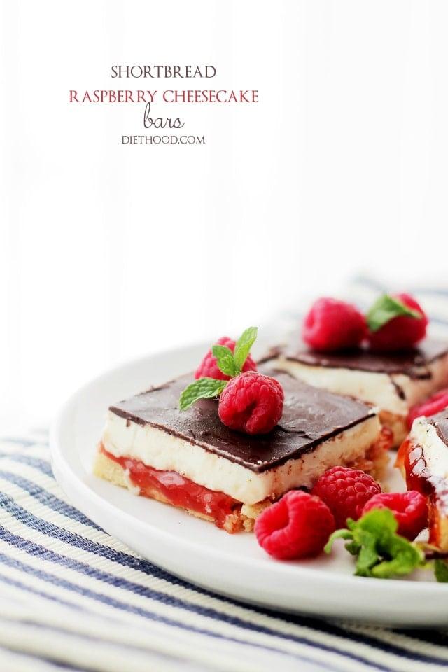 Cheesecake Bars | www.diethood.com | Sweet layer of shortbread crust ...