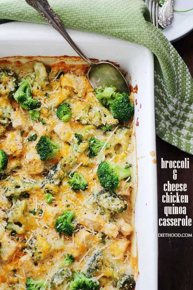 Broccoli  Cheese Chicken Quinoa Casserole Recipe  Diethood-9613