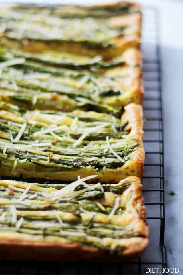 Cheesy Asparagus Frittata | www.diethood.com | Asparagus, parmesan and feta cheese incorporated into an egg batter to make this ridiculously easy, yet incredibly delicious and versatile dish!