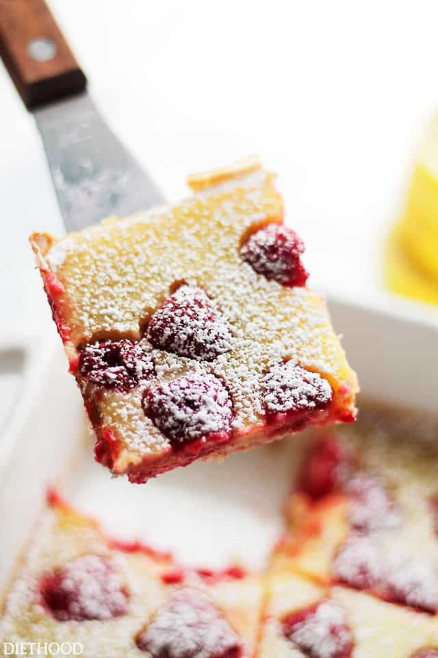 Raspberry Lemon Bars | www.diethood.com | Bursting with flavor and texture, these Lemon Bars are not only delicious, but at 150 calories per serving, they're also much lighter than your classic Lemon Bars.