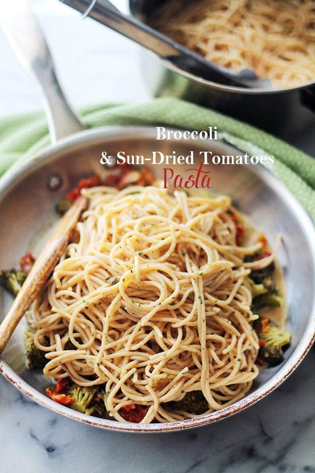 Broccoli and Sun-Dried Tomatoes Pasta in a skillet.