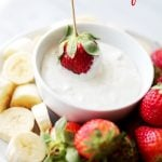 Cream Cheese Fruit Dip - Delicious, lightened-up creamy fruit dip made with cream cheese and plain yogurt. Simple, yet SO GOOD! Get the recipe on diethood.com