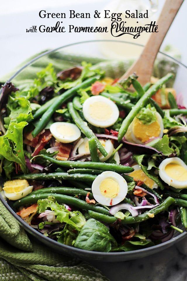 Green Bean and Egg Salad with Garlic Parmesan Vinaigrette in a salad bowl.