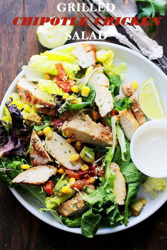 Grilled Chipotle Chicken Salad - Oven grilled chicken seasoned with chipotle powder and tossed with all your favorite southwestern fixings. An incredibly delicious salad with a bite! Get the recipe on diethood.com