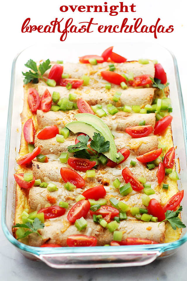 Overnight Breakfast Enchiladas - Flour Tortillas filled with turkey sausage, green onions, peppers and cheese, covered in a creamy egg batter and baked. A delicious breakfast casserole that can be prepped the night before and baked the next day! Get the recipe on diethood.com