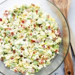 Avocado Egg Salad - Mayo-free, chunky and delicious egg salad with avocados, crunchy bacon, green onions, dill, lime juice and yogurt. Get the recipe on diethood.com