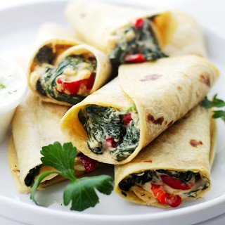 Creamy Spinach and Feta Cheese Tortilla Wraps