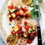 Grilled Salmon with Pineapple and Piquillo Peppers Salsa Recipe