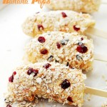 Yogurt Granola Banana Pops - Frozen bananas dipped in fruit-yogurt and covered in granola. One of the best snacks, evah! AND, you might even believe that you're eating ice cream! Get the recipe on diethood.com
