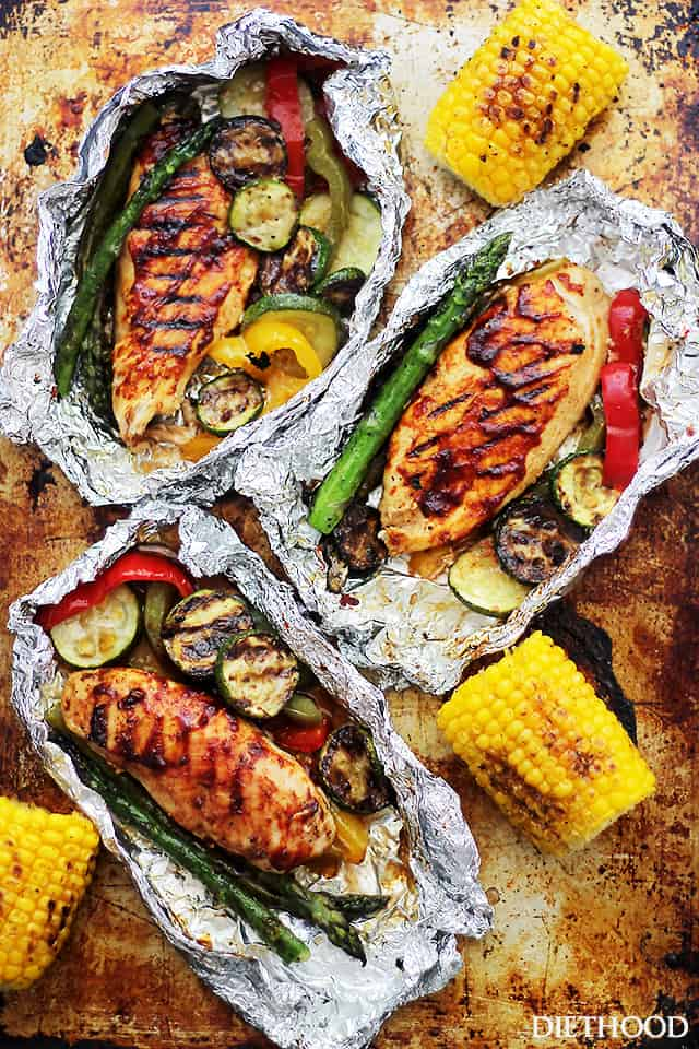 Grilled Barbecue Chicken and Vegetables | Incredible Campfire Recipes You'll Want To Cook Every Day