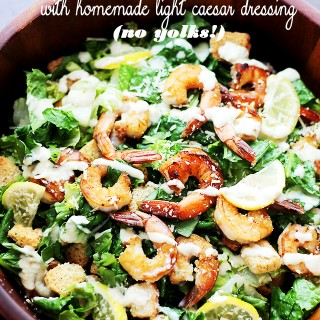 Grilled Shrimp Caesar Salad with Homemade Light Caesar Dressing (NO YOLKS!)