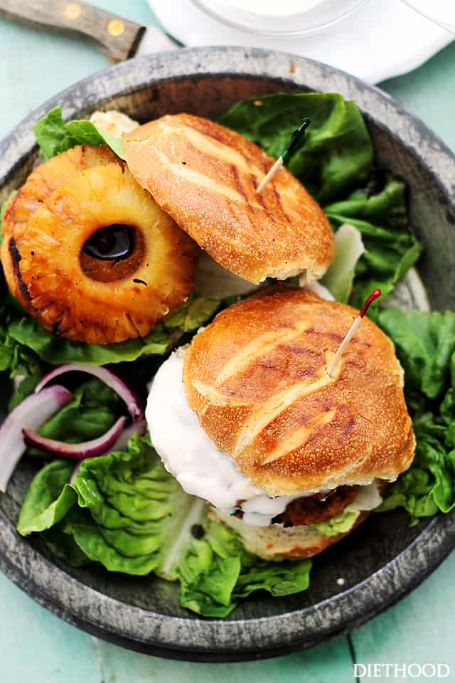 Teriyaki Pineapple Salmon Burgers