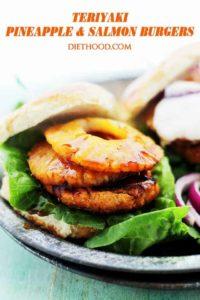 Teriyaki Pineapple & Salmon Burgers with Sriracha-Yogurt Sauce Recipe | Easy Salmon Recipes